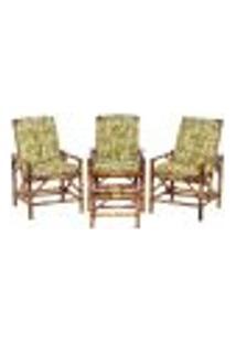 Conjunto Mesa E 3 Cadeiras De Bambu Cancun Para Área Edicula Jardim G30