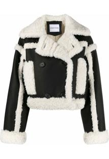 Stand Studio Shearling Trim Crop Jacket - Preto