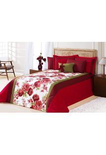 Edredom Cama Queen Vermelho Com 7 Peças Tecido Algodão E Poliester E Microfibra - Edredom Savana - Aquarela