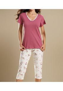 Pijama Capri Floral Paulienne Classic (C.P6.103.60) 100% Algodão