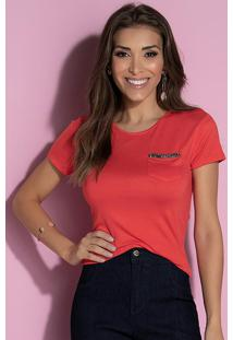 Blusa Com Bolso E Detalhe De Strass Vermelha
