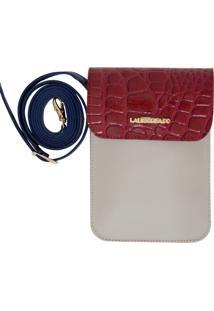 Bolsa Laura Prado Carteira Marfim/Vermelho