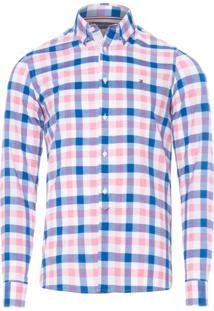 Camisa Masculina Slim Grid Check Shirt - Azul