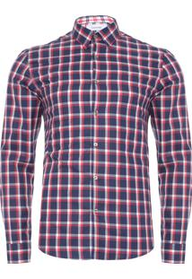 Camisa Masculina Slim Geneva Xadrez - Azul