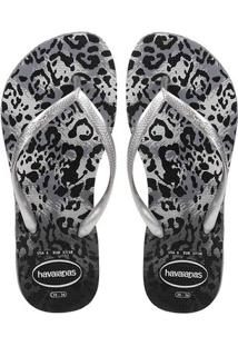 Chinelo Feminino Havaianas Slim Animals Cinza