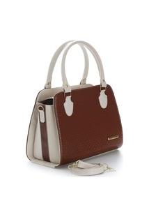 Bolsa Feminina Metalassê Bicolor Santorini Handbag Creme/Marrom