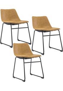 Kit 03 Cadeiras Decorativa Sala De Estar Recepção Fixa Maia Pu Caramelo - Gran Belo