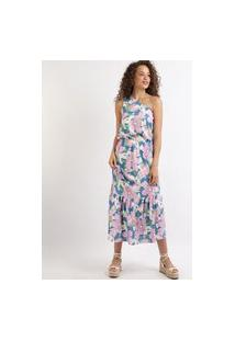 Vestido Feminino Midi Estampado Floral Um Ombro Só Sem Manga Roxo