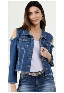 Jaqueta Feminina Jeans Vazado Razon