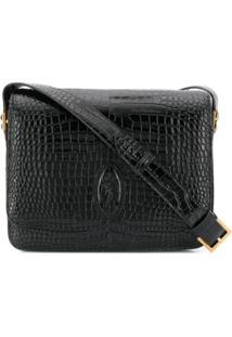 Saint Laurent Embossed Crocodile Effect Le 61 Saddle Bag - Preto