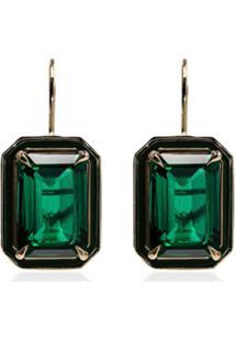 Alison Lou Par De Brincos De Ouro 18K Com Esmeralda - Verde