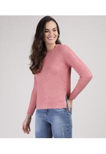 Suéter De Tricô Feminino Com Fenda Rosa