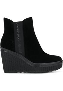 Calvin Klein Jeans Ankle Boot Plataforma - Preto