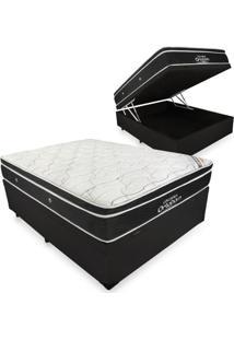 Cama Box Com Baú Casal + Colchão De Molas Ensacadas - Ortobom - Elegant Superpocket 138X188X70Cm Preto
