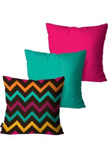 Kit Com 3 Capas Para Almofadas Pump Up Decorativas Pink Chevron Colors 45X45Cm