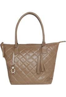 Bolsa De Mão Em Couro Textura Diamante- Bege- 39X27Xdi Marlys