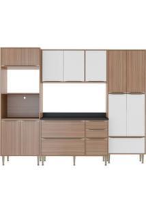 Cozinha Compacta Multimoveis Calabria 5452 Nogueira Branco Se