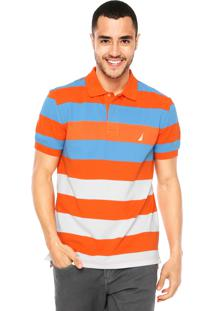 Camisa Polo Nautica Listrada Laranja/Azul