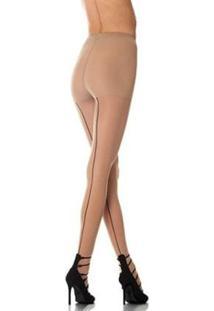 Meia Calça Feminina Risca Atrás Fio 15 Loba Lupo 5685 - Feminino-Bege