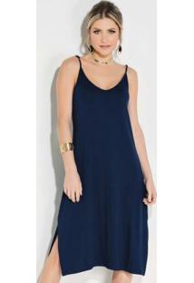 Vestido Quintess Midi Azul Com Fenda