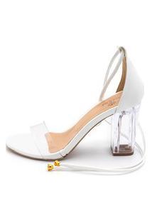 Sandália Salto Transparente Flor Da Pele Branco