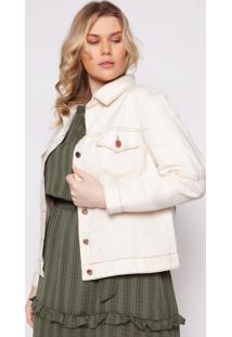 Jaqueta Almaria Plus Size Izzat Agueda Jeans Off-White
