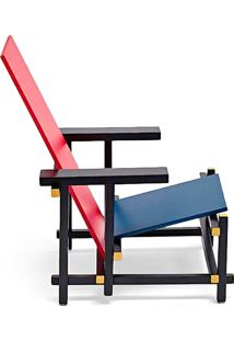 Poltrona Red And Blue Madeira Maciça Artesian Clássicos De Design By Gerrit Thomas Rietveld