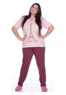 Pijama Longo 100% Algodão E-Pijama Torre Eiffel (5428) Plus Size