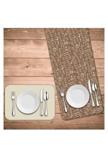Jogo Americano Com Caminho De Mesa Wevans Kitchen Kit Com 4 Pçs + 1 Trilho