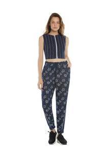 Calça Zinco Comfort Cós Intermediário Composê Tecido Azul