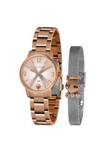 Kit Relógio Feminino Lince Analógico Rosê - Lrr4682L-Kn22R2R Rosa