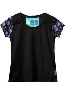 Camiseta Baby Look Feminina Algodão Estampa Folha Moderna - Feminino-Azul+Preto