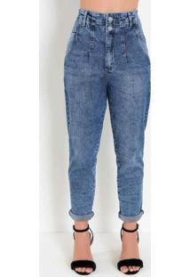 Calça Jeans Mom Jeans Com Botões Forrados Sawary
