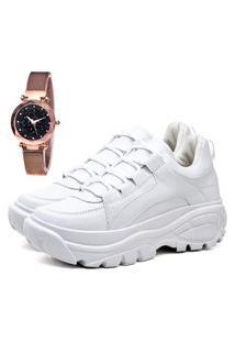Tênis Sapatênis Casual Plataforma Elegant Com Relógio Gold Feminino Dubuy 728La Branco