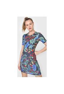 Vestido Colcci Fitness Curto Floral Azul-Marinho/Verde