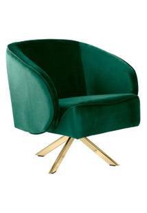Poltrona Decorativa Giratória Base Eiffel Agnes Veludo Verde B-303 - Lyam Decor
