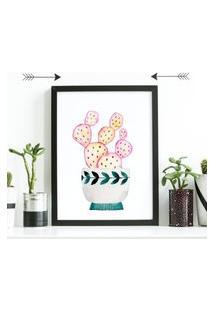Quadro Decorativo Com Moldura Cacto Pink Preto - 30X40Cm