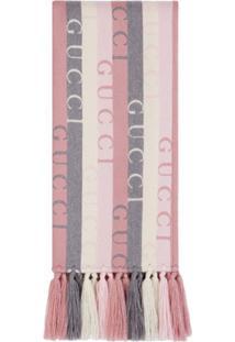 Gucci Cachecol De Lã Com Logo E Listras - Rosa