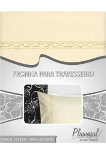 Fronha-Percal 233 Fios-Bege Com Sianinha Bege-50X150