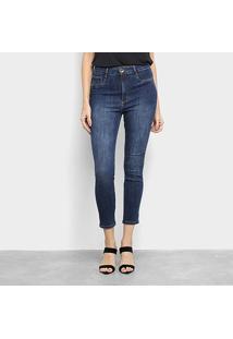 Calça Jeans Lança Perfume Skinny Super High Ankle Puídos Feminina - Feminino-Marinho