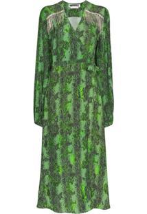 Rotate Vestido Envelope Kira Com Estampa Píton E Franjas - Verde