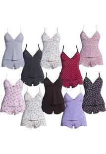Kit Com 10 Baby Dolls - Polo Match Feminino - Feminino-Branco+Preto