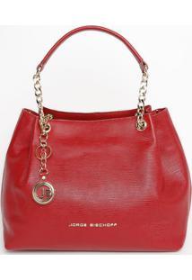 Bolsa Em Couro Com Bag Charm - Vermelha - 25X40X12Cmjorge Bischoff