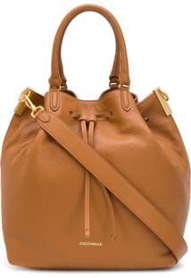 Coccinelle Drawstring Leather Tote Bag - Marrom