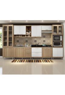 Cozinha Compacta 17 Portas Para Pia E Cooktop 5806 Branco/Argila - Multimóveis