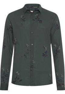 Camisa Masculina Rose Garden Militar - Verde