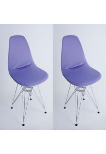 Kit Com 02 Capas Para Cadeira Charles Eames Eiffel Wood Lilas - Kanui