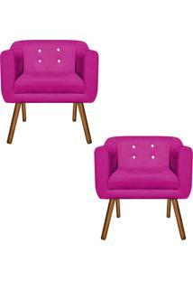 Kit 02 Poltronas Decorativa Julia Suede Pink Strass - D'Rossi - Rosa - Dafiti