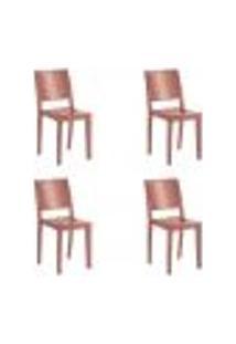 Kit 4 Cadeiras Hydra Plus Em Polipropileno Kappesberg - Terracota