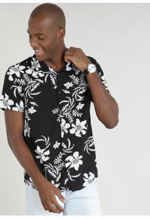 Camisa Masculina Relaxed Estampada Floral Manga Curta Preta